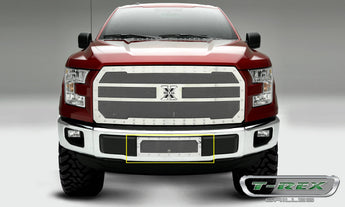 T-REX X Metal Series, Insert Bumper Grille - Polished - Requires Drilling or Cutting - 2015+ F150