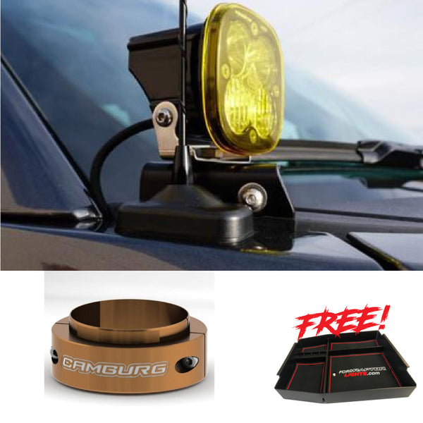 "Pair of Baja Design's XL 80's, SDHQ A-Pillar Mounts, 2"" Camburg Collar, and Free Center Console Package With FREE SHIPPING"