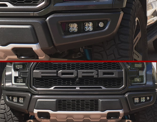 <b>KIT: 4 Baja Designs Squadron Sport <br>+2 KC HiLites Flex Lights </b>+'17 Raptor Triple Bezels +Hardware