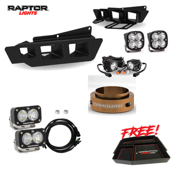 "FordRaptorLights Baja Design's Squadron Pro Bumper light kit, 2"" Camburg Collar, Baja Design's Reverse Light Kit, and Free Center Console Package With FREE SHIPPING"