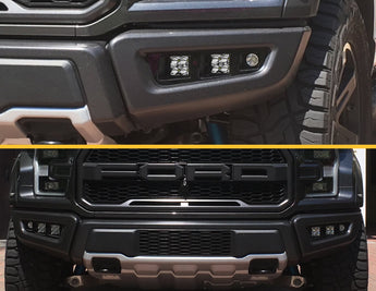 Triple Bezel Fog Light Kit w/ Diode Dynamics SS3 Cube Lights - 2017+ Raptor