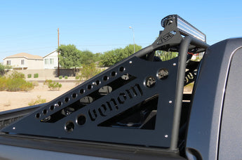 "Ford F-150/Raptor Chase Rack Venom style with 50"" forward bar and 30"" rear facing bar with NO mount for spare tire NO center section in Hammer Black with Satin Black panels"