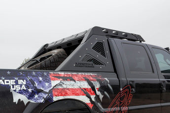 "1999 - 2016 Ford F250/350 HoneyBadger Chase Rack Roof Rack Addon with Dual 50"" LEDs in front and SR-Q mounts on sides and rear in Satin Black. Requires base unit"