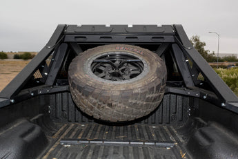 1999 - 2016 Ford F250/350 HoneyBadger Chase Rack Tire Carrier Add-On in Hammer Black