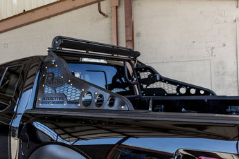"Ford Raptor Race Series Chase Rack with ADD Logo and 2017 grill patern in sides and NO tire carrier and light actuator kit with upper light bar kit for 50"" LED mount and rear facing light tabs in Hammer Black with Satin Black panels"