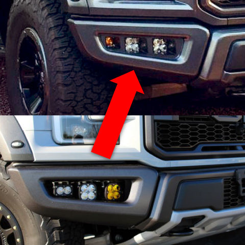 Baja Designs to Raptor Lights Bumper Fog Light Conversion Kit