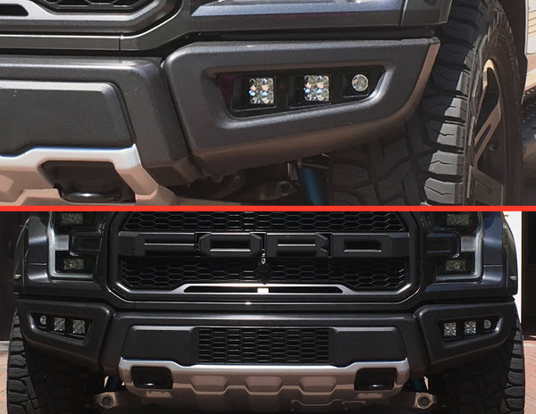 Triple Bezel Fog Light Kit w/ Rigid Industries D-Series PRO Cube Lights - 2017-2020 Raptor