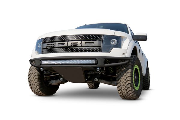 "2010-2014 Raptor Venom ""R"" Front Bumper with 10 Dually mounts or Universal Plate (NO LOGO ON SKID PLATE) and 6"" SR Mounts in Sides (NO SIDE PANELS) in Hammer Black with Satin Black Panels"