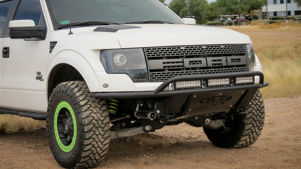 Raptor ADD Lite Front Bumper with 10 Dually mounts/universal plate on top with top hoop in Hammer Black with Satin Black Skid Plate