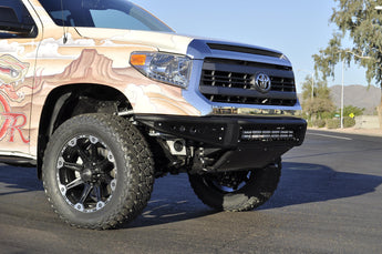 "Toyota Tundra Front Venom Bumper with 30"" light bar mounts in Hammer Black with Satin Black panels"