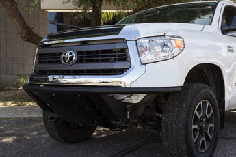 Toyota Tundra ADD Lite Front Bumper with 10 Dually mounts/universal plate on top in Hammer Black with Satin Black Skid Plate