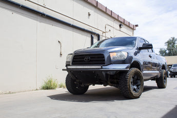 2007 - 2013 Toyota Tundra ADD Lite Front Bumper with 10 Dually mounts/universal plate on top in Hammer Black with Satin Black Skid Plate