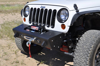 Jeep JK Stealth Fighter Jeep front center bumper with Winch mounts and Tow Hooks and  front KC Cube flush mount light openings With KC Logo in Hammer Black with Satin Black panels