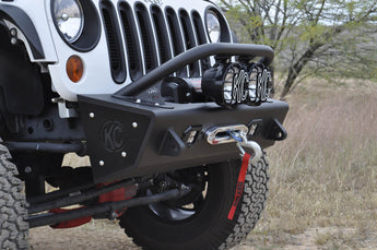 "Jeep JK Stealth Fighter Jeep standard top hoop With KC Logo for 6"" round KC HiLites lights in Hammer Black"