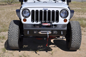 Jeep JK Stealth Fighter Jeep front center bumper with Winch mounts and Tow Hooks and front LED flush mount light openings With ADD Logo in Hammer Black with Satin Black panels