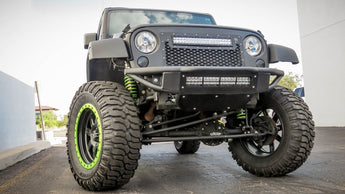 "Jeep JK Venom Bumper with 20"" Light Bar in Hammer Black with Satin Black panels"