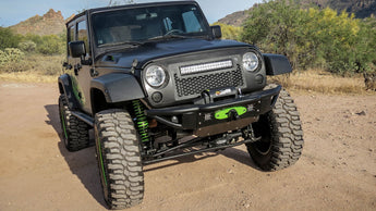 Jeep JK Venom Front Bumper with Winch Mount and 2 Dually Mounts in Hammer Black with Satin Black panels