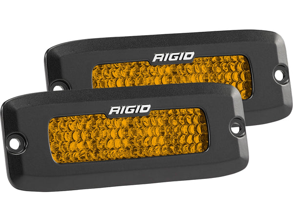 Rigid Industries SR-Q Series Diffused Rear Facing High/Low Flush Mount Amber Set Of 2