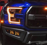 Triple Bezel Fog Light Kit with Rigid Industries Radiance Cube Lights - 2017-2020 Raptor