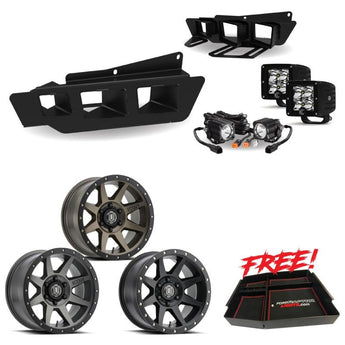 Icon Wheels, FordRaptorLights KC HiLites bumper light kit, and Free Center Console Package With FREE SHIPPING