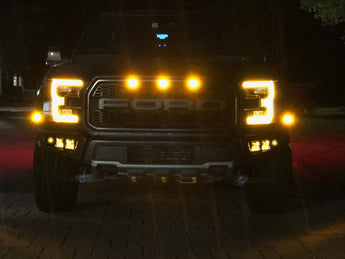 Triple Bezel Fog Light Kit w/ Rigid Industries Radiance Cube Lights - 2017+ Raptor