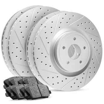 R1 Concepts - Carbon GEOMET® Series - Full Brake Kit - Drilled & Slotted Rotors w/ Ceramic Pads - 2010-2011 F150/Raptor (6 Lug Wheels)