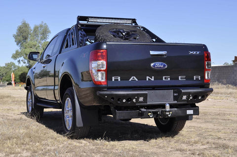 Venom Rear Bumper w/ Dually lights w/ back up sensor cut outs in Hammer Black w/ Satin Black Panels - 2011-2017 Ford Ranger T6
