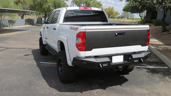 Toyota Tundra HoneyBadger Rear Bumper with Integrated Toolbox and NO backup sensor cutouts in Hammer Black with Satin Black panels