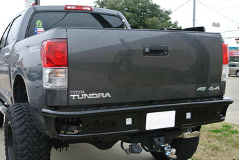 "2007 - 2012 Toyota Tundra Dimple ""R"" Rear Bumper with Dually mounts in Hammer Black"