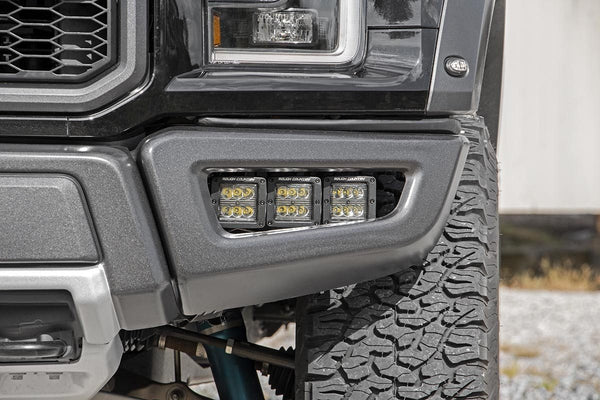 Rough Country Triple LED Fog Light Kit - 2017+ Raptor