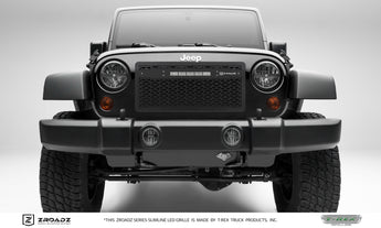 "T-REX ZROADZ Series, Insert Grilles w/ 10"" light bar center mount - Powdercoat - Requires Drilling or Cutting - 2007-2017 Jeep JK"