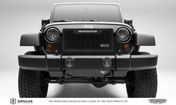 "T-REX ZROADZ Series, Insert Grilles w/ 10"" light bar top frame mount - Powdercoat - Requires Drilling or Cutting - 2007-2017 Jeep JK"