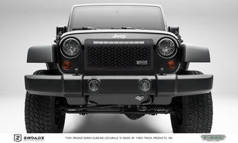 "T-REX ZROADZ Series, Insert Grilles w/ 20"" Light bar - Powdercoat - Requires Drilling or Cutting - 2007-2017 Jeep JK"