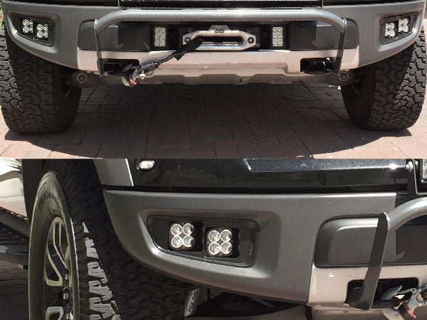 KIT: 4 Baja Designs Squadron Sport Light + Bezels + Hardware - 2010-2014 Raptor