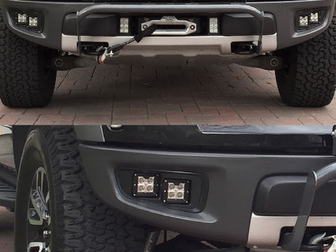 KIT: 4 KC-HiLiTES C3 Series lights + Bezels + Hardware - 2010-2014 Raptor