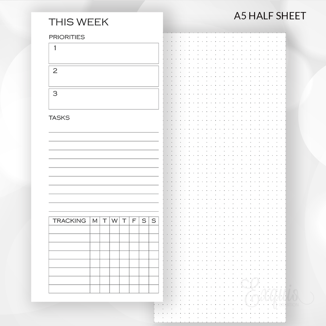 Planner Inserts | A5 Weekly Half Sheet