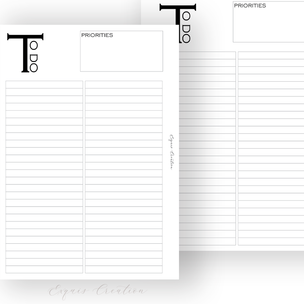 Planner Inserts | To Do Lists