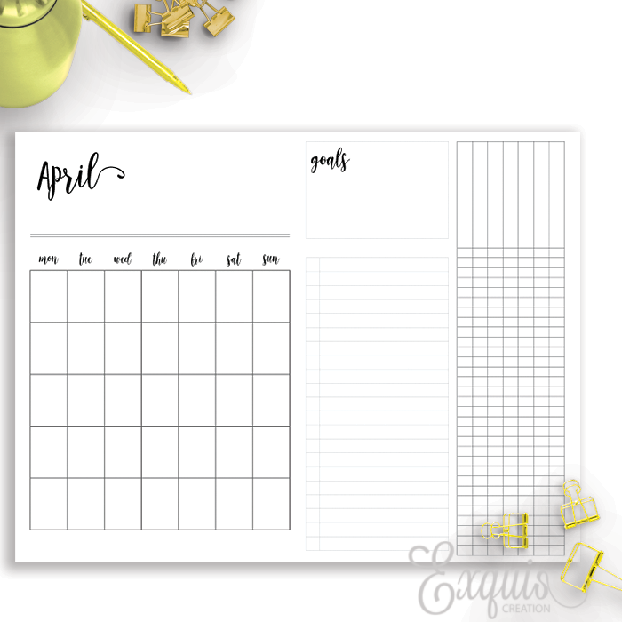 Planner Inserts | Month On 2 | Printable B6 TN Inserts