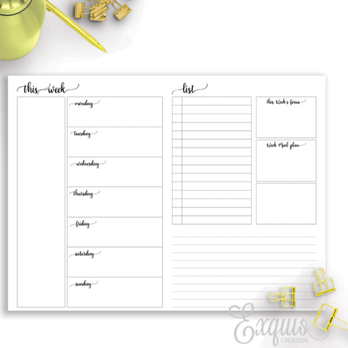 Planner Inserts | WO2 | Printable B6 TN Inserts