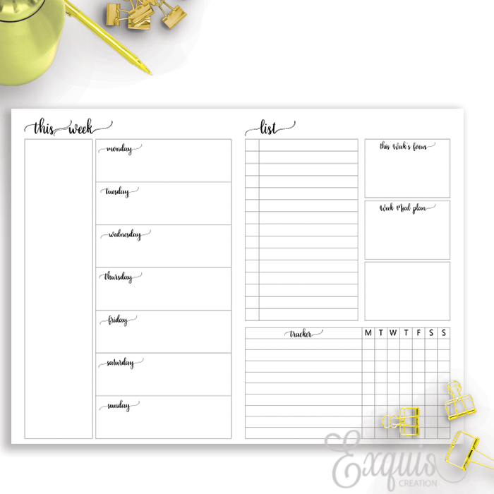 Planner Inserts | WO2 With Tracker  | Printable B6 TN Inserts