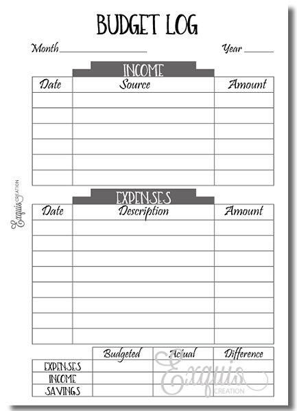 Planner Inserts | Budget Log