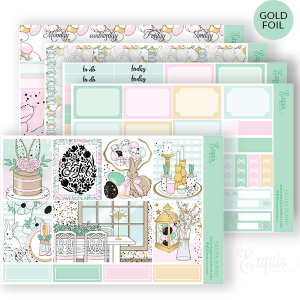 Planner sticker | Foil Full Kit | Easter Bunny