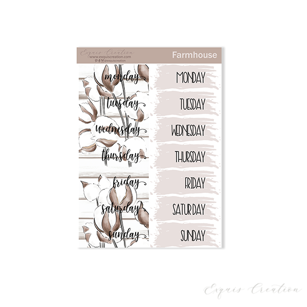 Planner sticker | Farmhouse | Date Covers ADDON