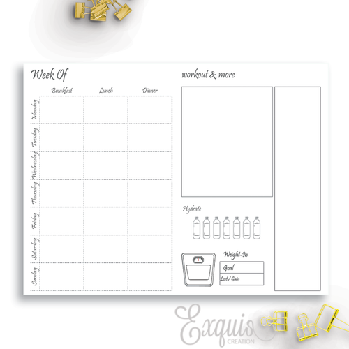 Planner Inserts | Health And Fitness | Printable TN Inserts