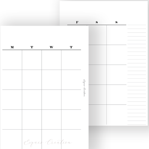 Planner Inserts | Undated Month On Two