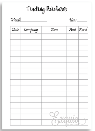 Planner Inserts | Purchase Tracker