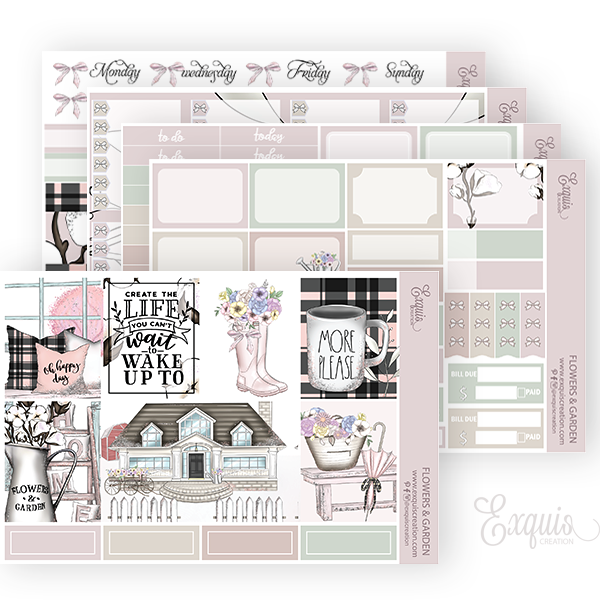 Planner sticker | Full kit | Flowers & Garden