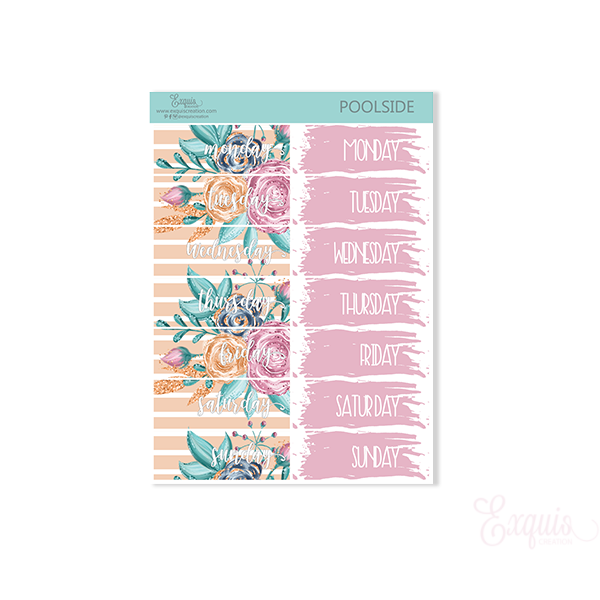 Planner sticker | Poolside | Date Covers ADDON