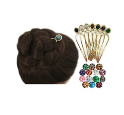 Gemstone Decorative Brass Hair Fork for Medium, Thick or Curly Hair