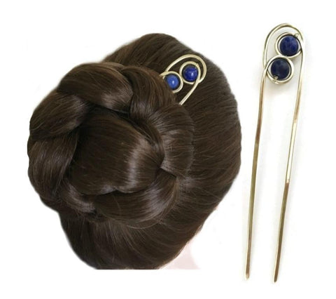 Decorative Gemstone Hair Pin Fork for Fine Hair